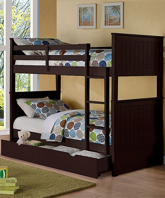 Espresso Charlotte Twin-over-Twin Paneled Trundle Bunk Bed