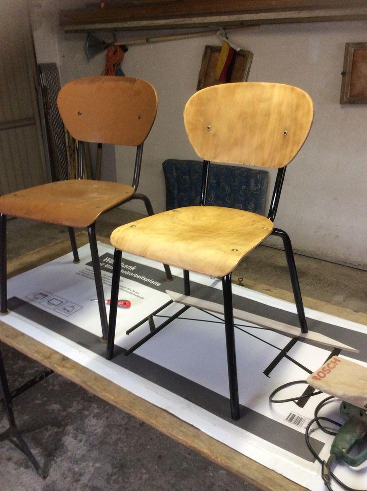Vorher --> (viel Schmirgel- und Lackierarbeit) --> Nachher (alter Stuhl, Industriestil)