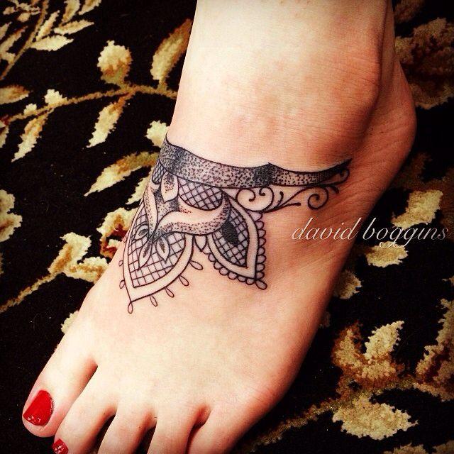 Lace ankle tattoo David Boggins