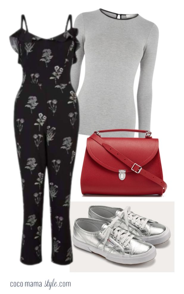 How to wear ruffles - coco mama style. body shape style tips + ruffle jumpsuit + floral + layering + silver trainers + red satchel