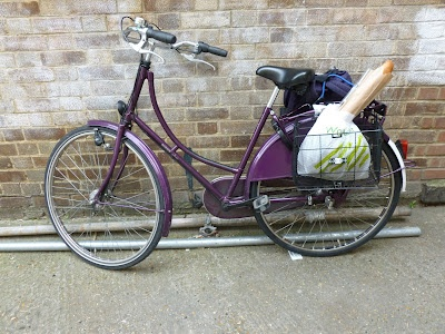 Bobbie the Bobbin Bicycle hard at work with lots of Waitrose shopping.
