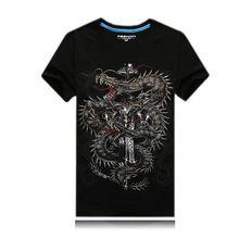 2016 6XL 3D T Gömlek Erkekler Büyük Artı Boyutu Tee Ejderha Baskılı Pamuk Kısa Kollu T-shirt Erkek Hip Hop Tee Camisetas Tops LQ300(China (Mainland))