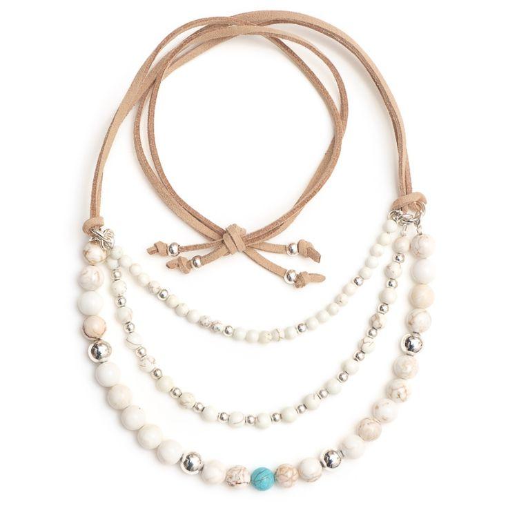 xada jewellery - Sorrento white stone bead necklace on suede, $64.95 (http://www.xadajewellery.com/shop-by-collection/white-stone-bead-necklace-on-suede/)