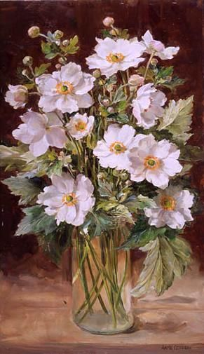 Scottish artist ANNE COTTERILL's work has a fresh vitality and strong sense of color giving each a gem-like quality. Drawing her inspiration from the seasonal wild flowers growing in and around her garden and in the surrounding countryside of her West Somerset home, she worked entirely in oils and painted mainly on board. Her detailed understanding of botany was combined with a focus on light and texture that gives her work great presence and feeling of movement.