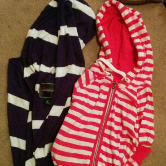 Lot of 2 striped hooded shirts Pink and white zip up blue and white cardigan tie shut on bottom both with hoods, light weight, size medium Tops