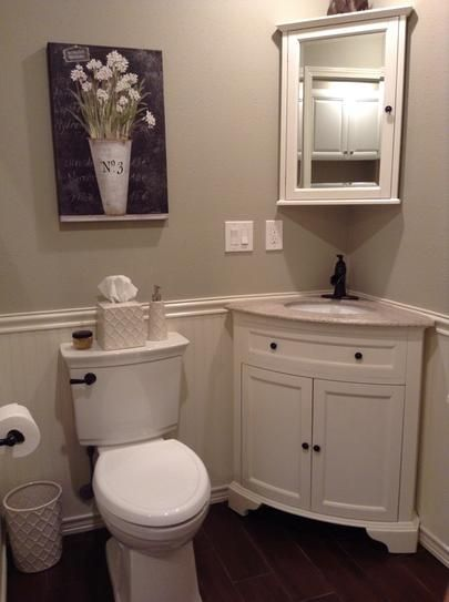 Photo Image Home Decorators Collection Hamilton in W x in D Corner Bath Vanity in Ivory with Granite Vanity Top in Grey