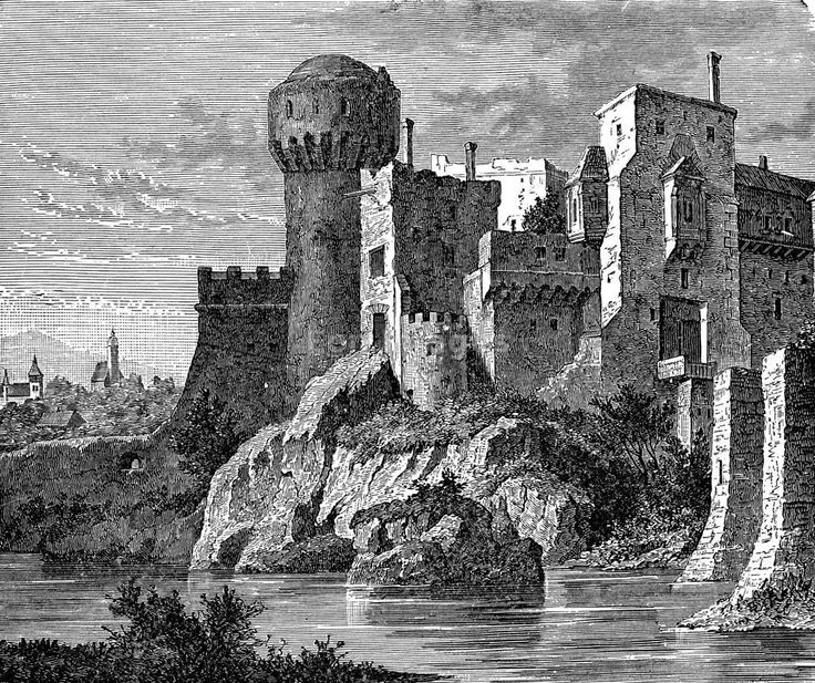 "19th-century illustration, ""Feudal Castle of Hunyadi Janos, In Transylvania."" Illustration of the castle of 15th-century Hungarian general Janos )AKA John or Johann) Hunyadi."
