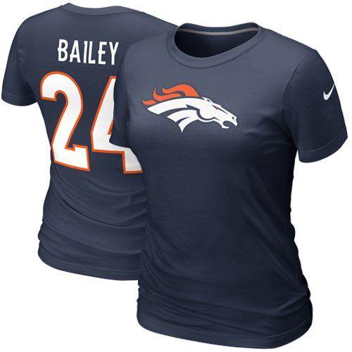 Nike Champ Bailey Denver Broncos Draft Ladies Player T-Shirt - Navy Blue