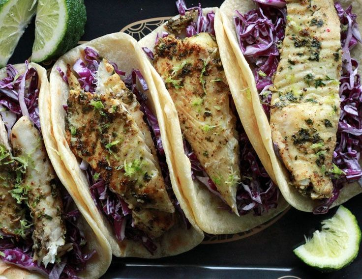 Alton Brown's Fish Tacos: Lovers of fish tacos fall into two camps: fried and not-fried. I tend toward the fried side as I really like the crunch, but in this case the marinade brings enough flavor to the party to make up for any lack of crunch.