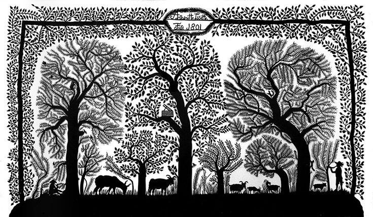 Découpage historique « Troupeau sous des arbres », 1801, d'Antoinette Lisette Fäsi, collection Hans-Jürgen Glatz, Blankenburg