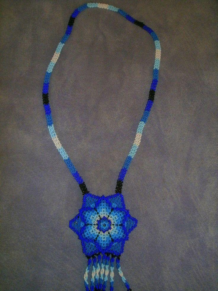 Huichol Hand-beaded Pendant Necklace, 3D Blue, Jikuri Flower