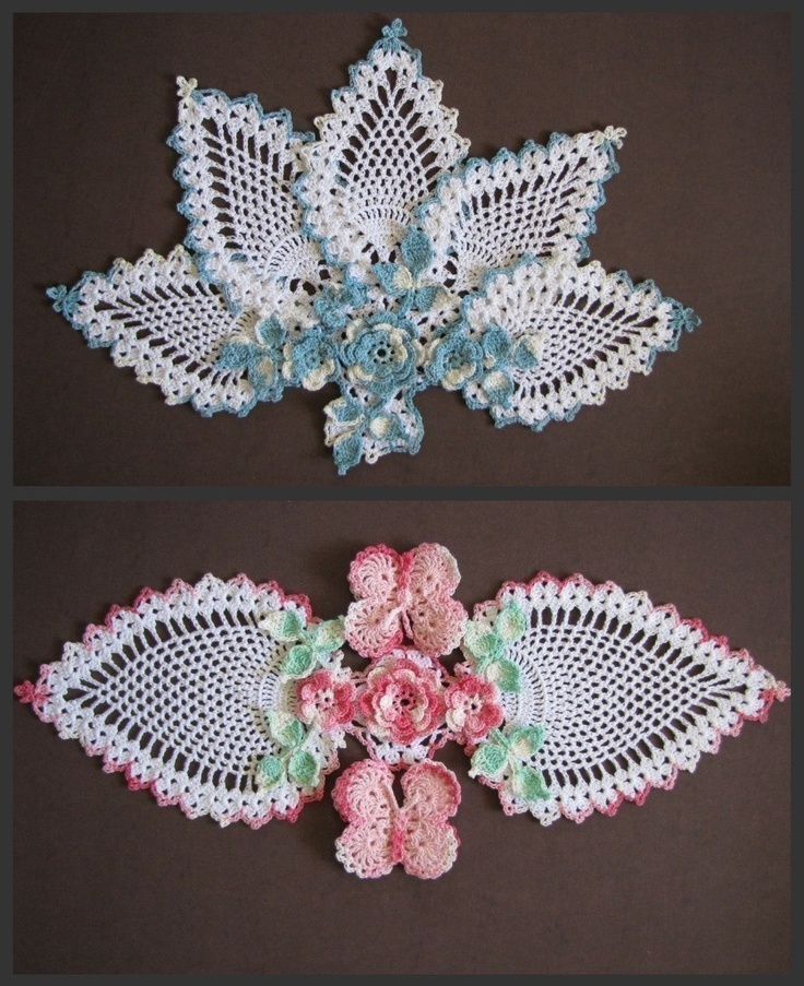 Butterflies and Roses Pineapple Doilies