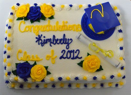 152 Graduation Sheet cake with Plastic Hat and Diploma