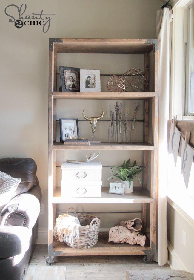 DIY Industrial Cart Bookcase