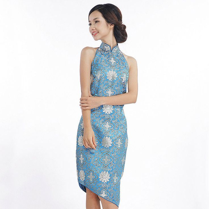 The Chinese style blue brocade short cheongsam dress. A Blooming Tree