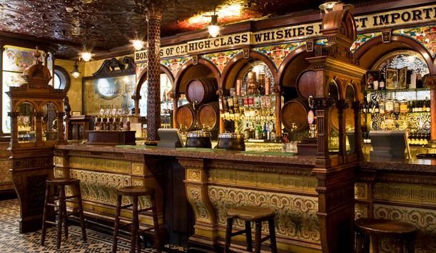 Crown Liquor Saloon, Belfast, Northern Ireland. Located along Great Victoria Street, the Crown Liquor Saloon is Belfast's most popular pub and one of Ireland's best pubs. They are famous for their pints of Guiness and an amazing interior lit by gas lamps.