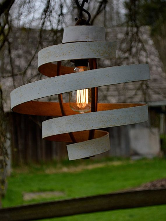 Someday I will have this fixture…Love! Love! Love!  Vintage White Rustic Hanging Lamp Pendant Shade by AnemoneArts, $349.00