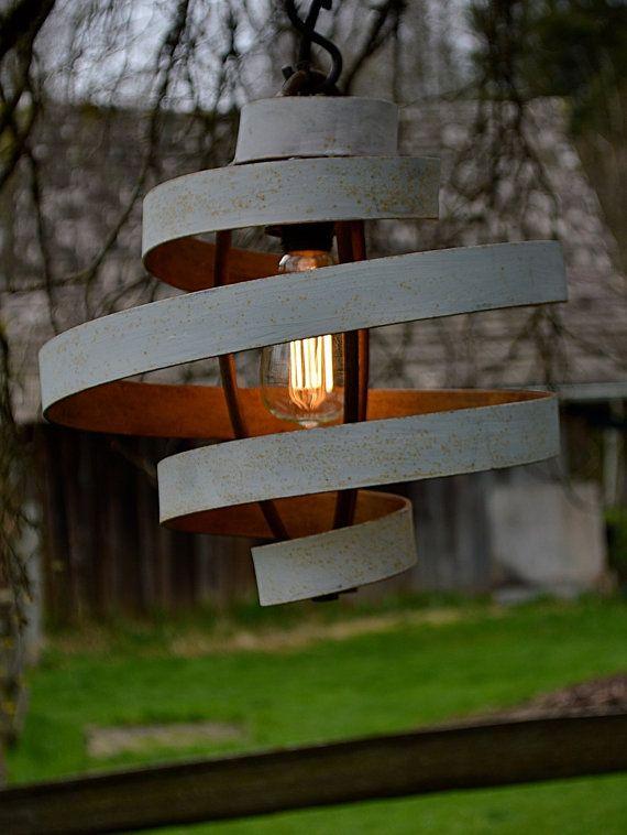 Vintage bianco rustico Hanging lampada pendente luce ombra illuminazione esterna Illuminazione interni