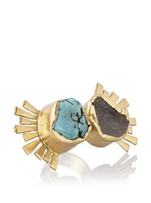 65% OFF Zariin Tribalesque Turquoise & Rose Quartz Ring