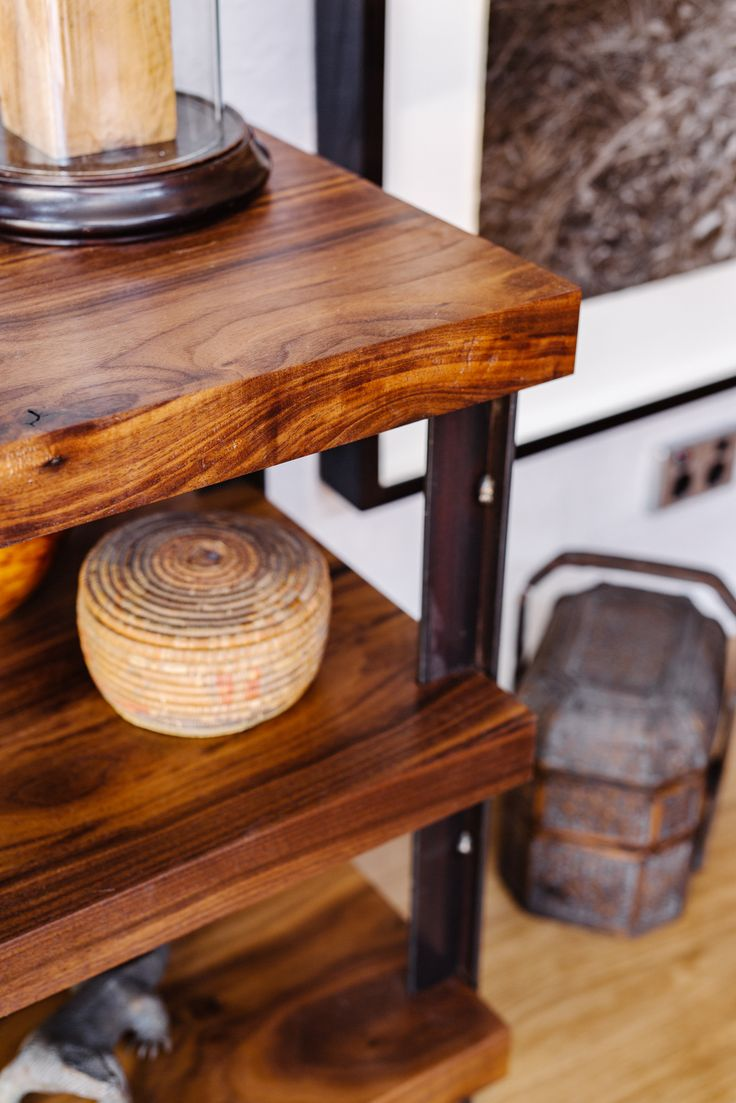 detail of beautiful walnut and steel timber TV stand - built by Matt Staples www.prosculpt.com.au #industrial
