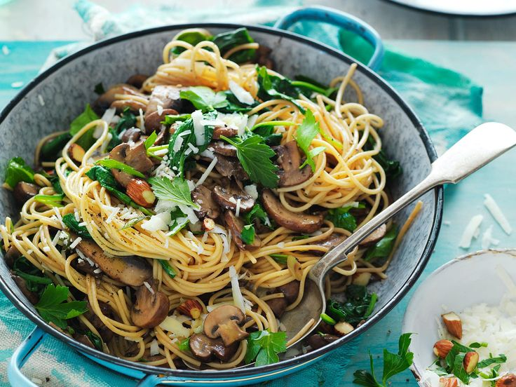 This delectable vegetarian pasta is packed with mushrooms, pecorino and crunchy almonds. Delish! It's also good for diabetics.