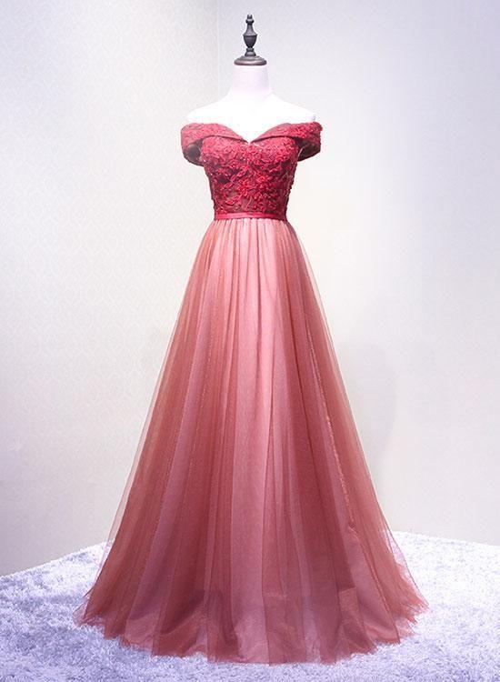 f0449585132 Unique lace tulle off shoulder long prom dress