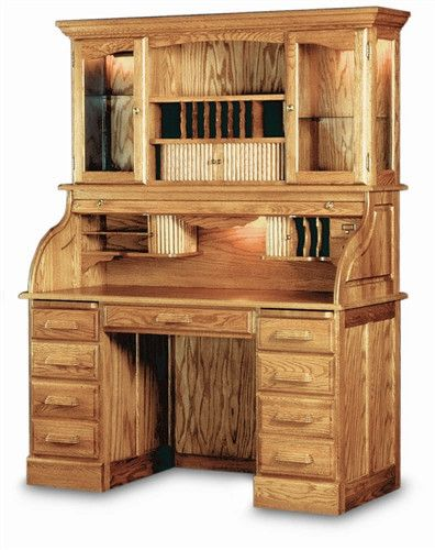 """54"""" Solid Oak Double Pedestal Rolltop Desk with Finish Options"""