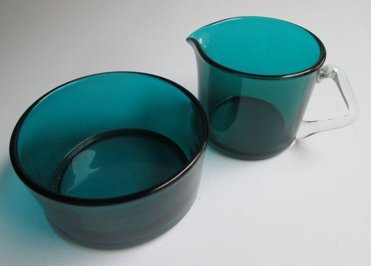 Turquoise glass Rosso cream & sugar designed by Nanny Still for Riihimäki Finland by SCALDESIGN on Etsy