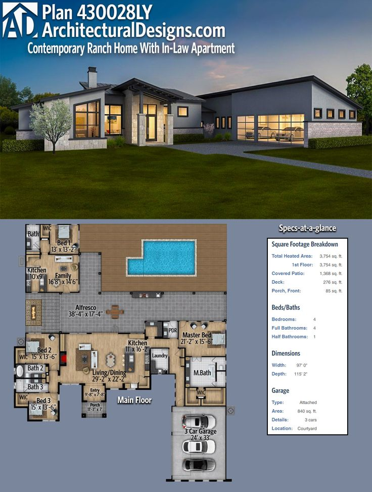 Architectural Designs Modern House Plan 430028LY has a detached in-law or guest suite complete with a bedroom, living room and kitchen off the rear porch. Over 3,700 square feet of heated living space. Ready when you are. Where do YOU want to build?
