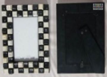 Keyboard button photo Frame - Black and white made from recycled keyboard buttons