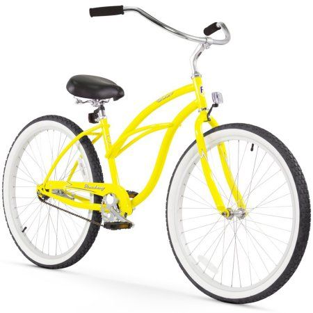 26 inch Firmstrong Urban Lady Single Speed Women's Beach Cruiser Bike, Yellow