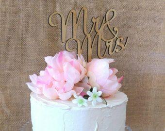 Rustic Cake topper -- Mr & Mrs Wedding Cake Topper - Raw Wood