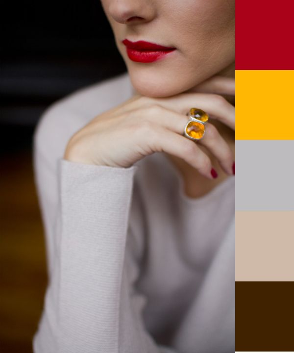 Chris, these r the colors for our kitchen red yellow gray brown: