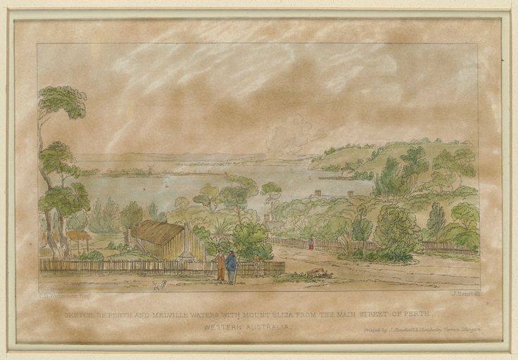 Sketch of Perth and Melville Waters, with Mount Eliza from the main street of Perth, Western Australia C. D. Wittenoom 1824?-1866, artist.; J. Henshall, printer.