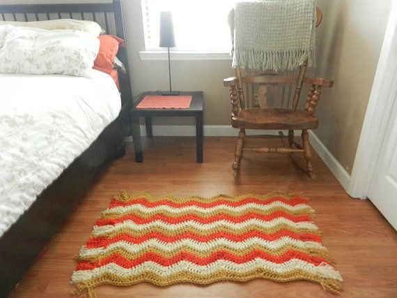 Chevron Rug With Fringe Autumn Harvest Fall Colors Crochet Floor Mat