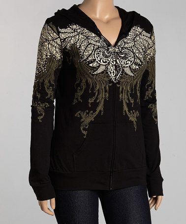 Look what I found on #zulily! Black Stud Wings Zip-Up Hoodie - Plus by Bus Stop #zulilyfinds