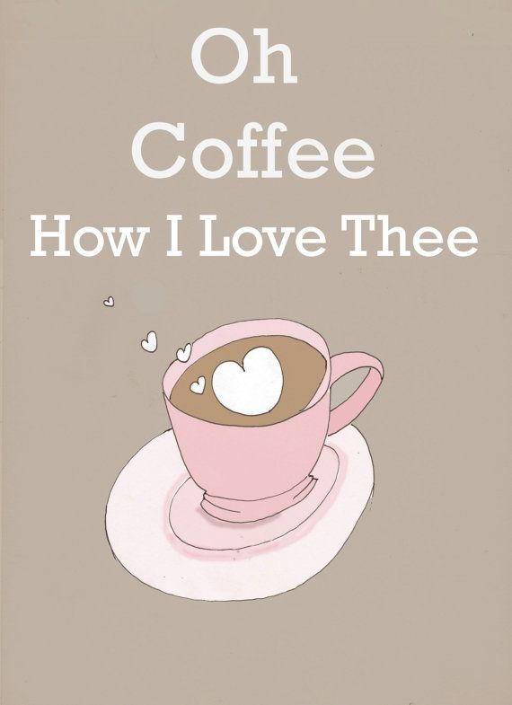 Kitchen Art - I love Coffe -  Wall Art -- Coffee Lovers- Print