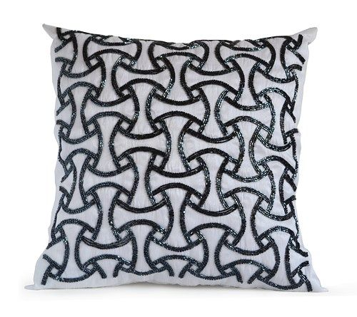 All new grey throw pillow cover in a contemporary interpretation of geometric Japanese Sashiko design. Decorative pillow cover in gray faux silk handcrafted in metallic grey beads makes a wonderful ad