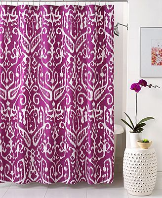 Trina turk bath ikat shower curtain if you go this bold for Bathroom design hashtags
