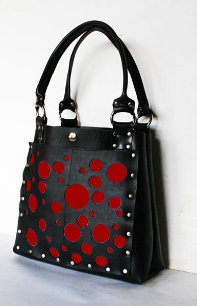 Recycle rubber handbag with hole pattern by TSRUBBER on Etsy, $155.00