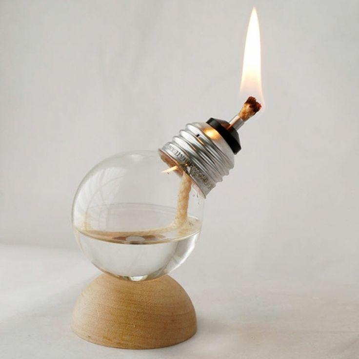 recycling ideen eine gaslampe aus einer gl hbirne basteln simplify your life pinterest. Black Bedroom Furniture Sets. Home Design Ideas