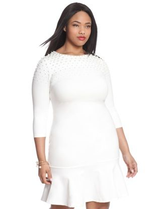 I Love this all white look with the pearls on the shoulders.  Studio Pearl Shoulder Peplum Dress from eloquii.com