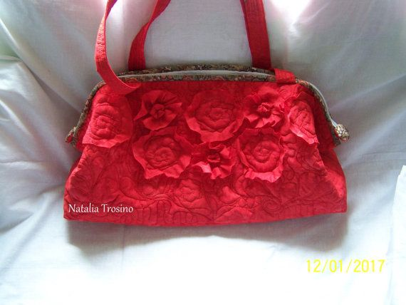 Textile Quilted Bag Red Florida Luxury by NaTrosinoQuiltForAll