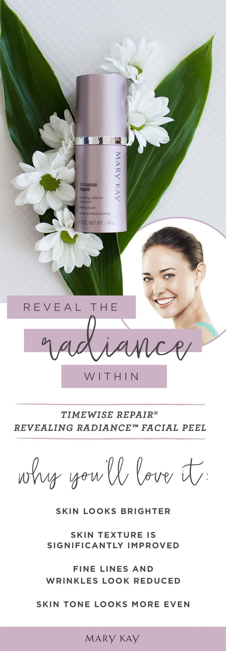 Wondering how to use the new TimeWise Repair® Revealing Radiance™ Facial Peel? It only takes 3 simple steps, twice a week, allowing three days between application!  1.Thoroughly cleanse and dry skin.  2. Apply a thin layer of Revealing Radiance™ Facial Peel on the face, avoiding the eye area, and massage gently into the skin.  3. After 10 minutes, rinse skin thoroughly with warm water and pat dry.