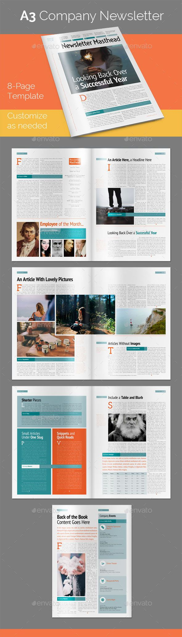 8-Page A3 Company Newsletter Template #design Download: http://graphicriver.net/item/8page-a3-company-newsletter/11078862?ref=ksioks