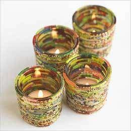 DIY Bangle votive holders... nice craft idea for kids!-esp for kavya's summer