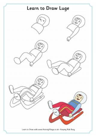 Learn to Draw Luge: Winter Olympics Crafts for Kids. #StayCurious