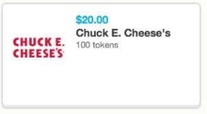 Chuck e cheese coupons 100 tokens for $10 2019