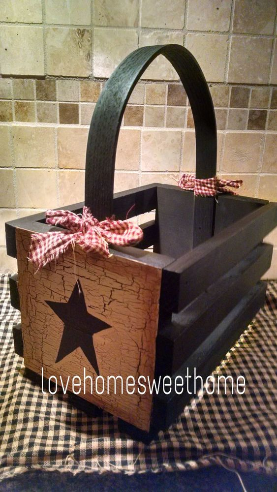 Primitive Crackle Tan Black Star Wood Basket Country Farm Decor