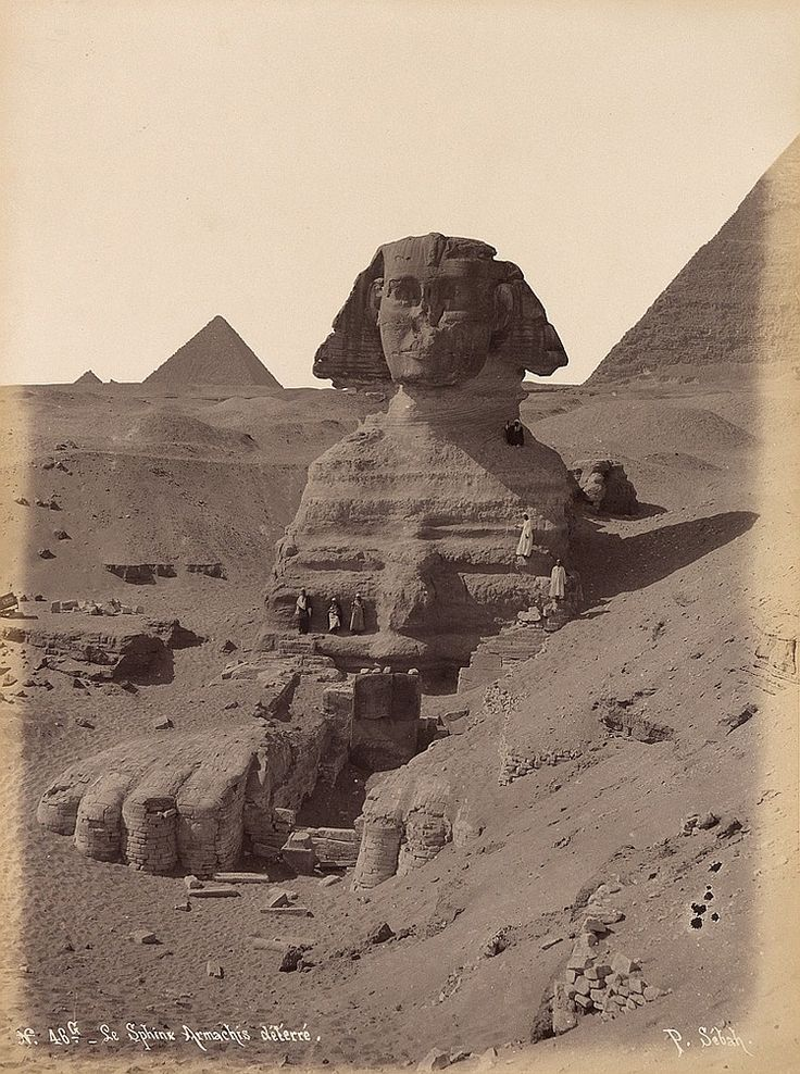 """From an album entitled """"Egypten,""""  photograph annotated """"N.46 G - Le Sphinx Armachis deterre"""" by Pascal Sebah (Egypt)"""